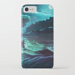 moonlit stormy sea iPhone Case
