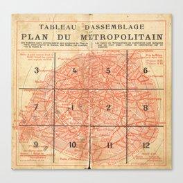Vintage Paris City Centre Map Canvas Print