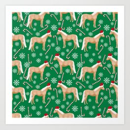 Palomino Horse Christmas - peppermint, candy cane, snowflake, christmas, green and red, santa Art Print