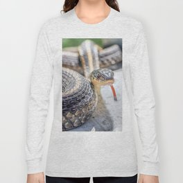 Garter snake with its tongue out Long Sleeve T-shirt