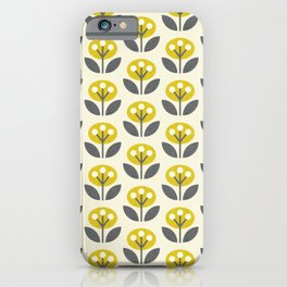 Mod Flowers in textured yellow and gray ©studioxtine iPhone Case
