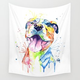 Pit Bull, Pitbull Watercolor Painting - The Softer Side Wall Tapestry