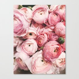 Flowers, Pastel, Plant, Pink, Minimal, Flowers decor, Interior, Wall art Art Canvas Print