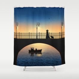 Romantic meeting by the river in the sunset Shower Curtain