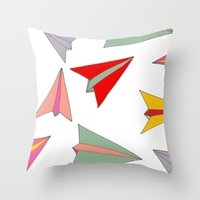 airplanes Throw Pillows featuring Paper airplanes pattern by Isabelle Debionne
