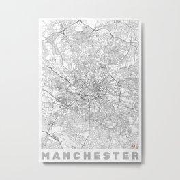 Manchester Map Line Metal Print