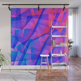 Bright contrasting fragments of crystals on irregularly shaped blue and pink triangles. Wall Mural