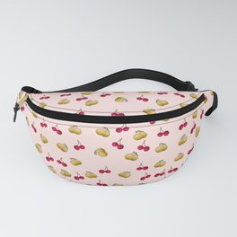 cherries and plums on a pink background Fanny Pack