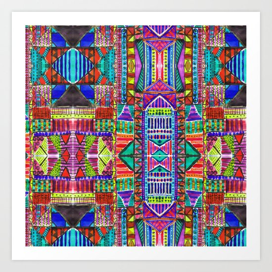 Tribal Patchwork Blue Art Print