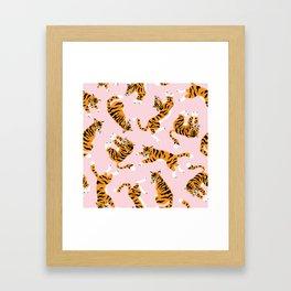 Lovely tiger falling from the pastel sky hand drawn illustration pattern Framed Art Print
