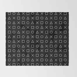 gamer pattern black and white  - gaming design black Throw Blanket