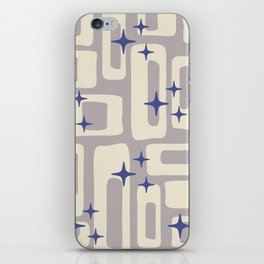Retro Mid Century Modern Abstract Pattern 813 Gray and Blue iPhone Skin
