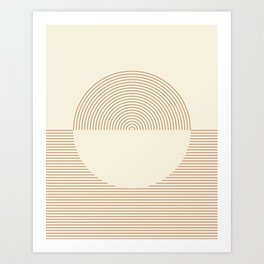 Geometric lines in Shades of Coffee and Latte Art Print