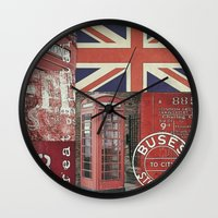british flag Wall Clocks featuring Very British by LebensART