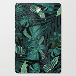 Tropical Jungle Night Leaves Pattern #1 #tropical #decor #art #society6 Cutting Board