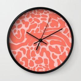 King Cheetah Print in Neon Coral + Blush Pink Wall Clock