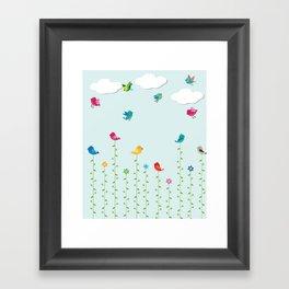 Flying Love Birds Framed Art Print