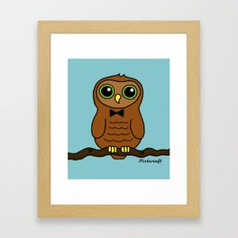 Original Digital Cute Owl Illustration Framed Art Print