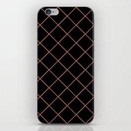Sherwin Williams Cavern Clay SW7701 Thin Line Stripe Grid on Black iPhone Skin