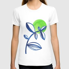 Blue and lime green minimalist leaves T-shirt