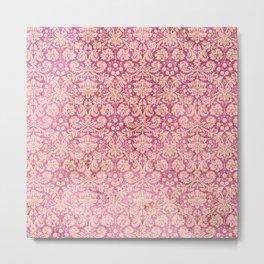 Vintage Antique Pink-Rose Wallpaper Pattern Metal Print