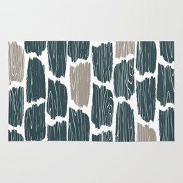 Rustic Wood Grain Abstract Pattern, Farmhouse, Cabin Decor, Teal and Grey Rug