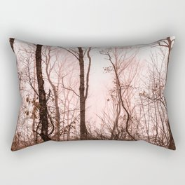 Foggy morning in the forest Rectangular Pillow