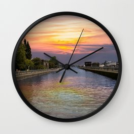 Ballard Locks at Sunrise Wall Clock