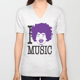 I __ Music Unisex V-Neck
