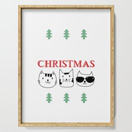 Purry Christmas Cats Christmas Eve Xmas Holiday Celebration Serving Tray