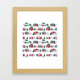 Camper vacation christmas road trip tropical home away from home pattern Framed Art Print