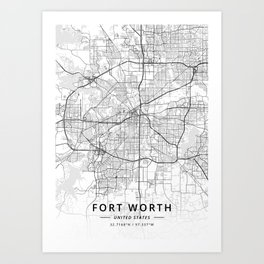 Fort Worth, United States - Light Map Kunstdrucke