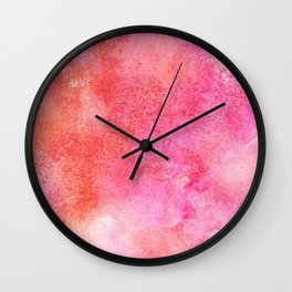 Abstract modern pink orange watercolor pattern Wall Clock