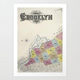 Very Old New York, Brooklin map Art Print