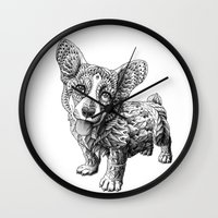corgi Wall Clocks featuring Corgi Puppy by BIOWORKZ