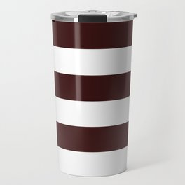 Horizontal Stripes - White and Dark Sienna Brown Travel Mug