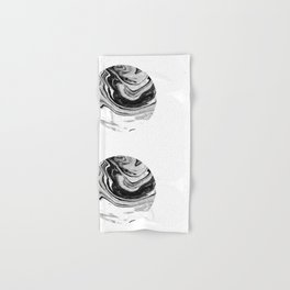 Chi - abstract minimal black and white modern art painting swirl marble pattern waves water Hand & Bath Towel