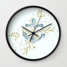 Blue anchor and flowers Wall Clock