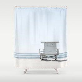 Blue Tower 17 - Lifeguard Tower Shower Curtain