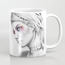 Beautiful Girl with Tattoos and Colorful Eyes Coffee Mug
