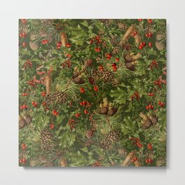 Traditional Holly Christmas Pattern Metal Print