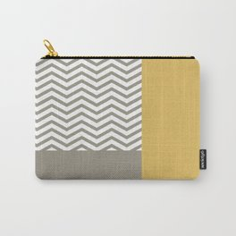 Modern Grey Chevrons Misted Yellow Colorblock Carry-All Pouch