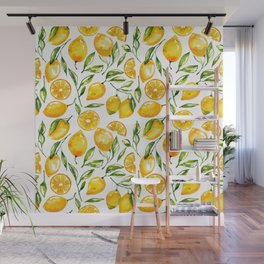 lemon watercolor print Wall Mural