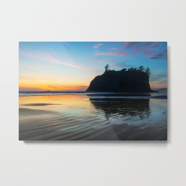 Ocean Dreams - Sunset Silhouette Along Ruby Beach in Washington Metal Print