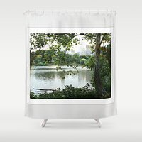 central park Shower Curtains featuring Central park by ChaunceyInk
