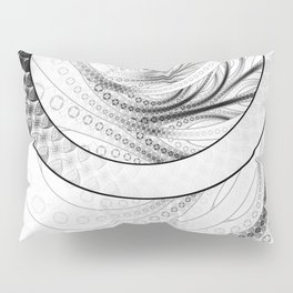 White on Black Circular Fractal of a Jinbaori Samurai Symbol Pillow Sham