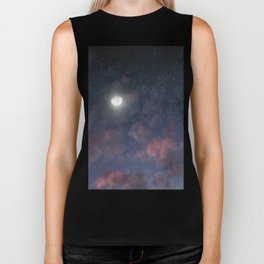 Glowing Moon on the night sky through pink clouds Biker Tank