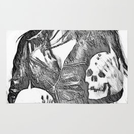 Inner Demons - black and white surreal, sexy demonic girl, woman posing with skulls abstract artwork Rug