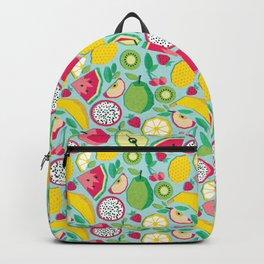 Paper cut geo fruits // aqua background multicoloured geometric fruits Backpack