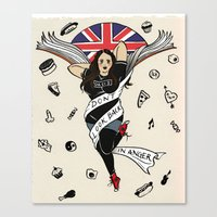 my mad fat diary Canvas Prints featuring My Mad Fat Diary Oasis Rae Pin-up by Emma Munger